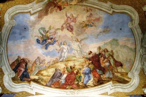 Ascension of Christ painting in the Church of St. Cross of Hirschberg, Poland